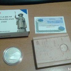 Monedas Juan Carlos I: 2000 PESETAS 8 REALES 1999 AÑO JUBILAR COMPOSTELANO SILO DE CARLOMAGO CON ESTUCHE Y CERTIFICADO. Lote 115286963