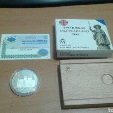Monedas Juan Carlos I: 2000 PESETAS 8 REALES 1999 AÑO JUBILAR COMPOSTELANO SAN MARTIN DE FROMISTA CON ESTUCHE Y CERTIFICADO. Lote 115287295