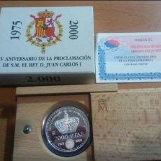 Monedas Juan Carlos I: 2000 PESETAS PLATA 2000 XV ANIVERSARIO PROCLAMACIÓN REY CON ESTUCHE Y CERTIFICADO. Lote 115321174