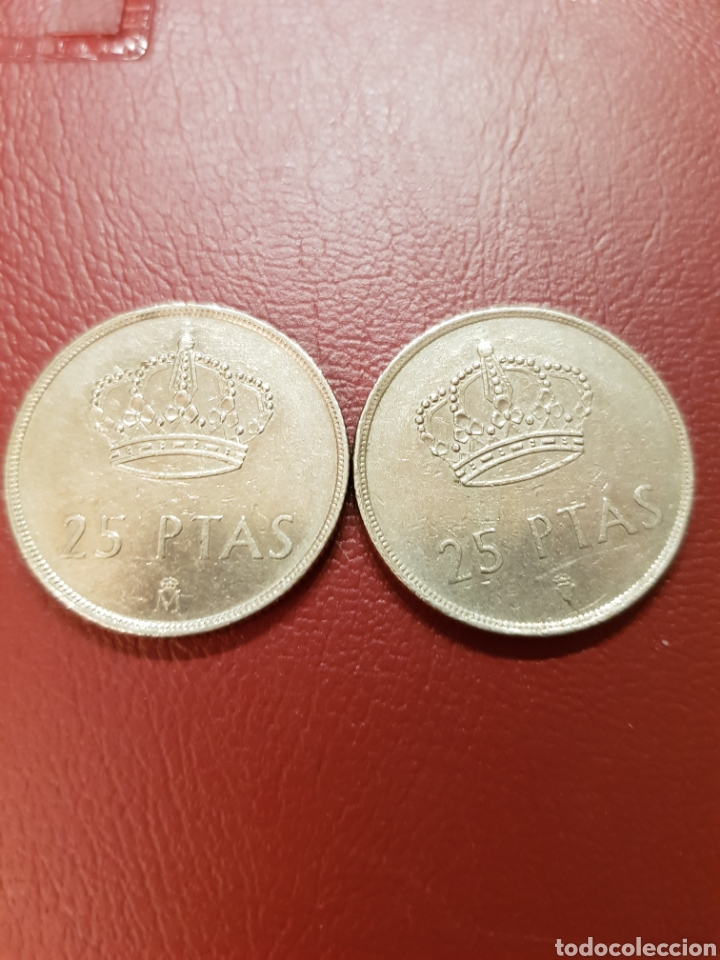 Monedas Juan Carlos I: Dos monedas 25 pesetas 1983 y1984 Rey Juan Carlos. BEC - Foto 2 - 117158783