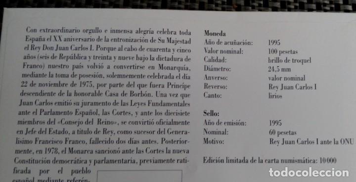 Monedas Juan Carlos I: BONITA MONEDA DE 100 PESETAS 1985 Y SELLO REY JUAN CARLOS I EN CARTA NUMISMATICA EDICION LIMITADA - Foto 3 - 117400583