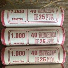Monedas Juan Carlos I: 160 MONEDAS DE 25 PESETAS VARIADAS, EN CARTUCHO. Lote 130900529
