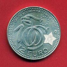 Monedas Juan Carlos I: MONEDA DE 12 EUROS PLATA, ESPAÑA, 2009 , ANIVERSARIO UNION ECONOMICA Y MONETARIA ,ORIGINAL CON FUNDA. Lote 222749497