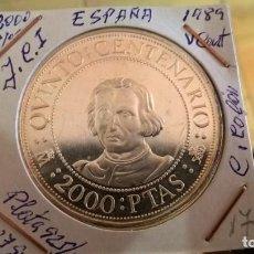 Monedas Juan Carlos I: 2000 PESETAS DE PLATA DE 1989. QUINTO CENTENARIO. Lote 127571779