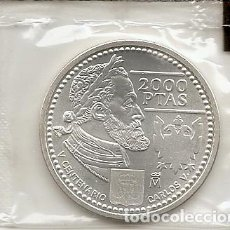 Monedas Juan Carlos I: ESPAÑ 2000. MONEDA DE PLATA DE 2000 PESETAS. CONMEMORATIVA DE CARLOS V. FUNDA DE PLASTISCO ORIGINAL. Lote 129309991