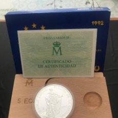 Monedas Juan Carlos I: ESPAÑA 5 ECU 1992 (PLATA) S/C FUNDA,ESTUCHE Y CERTIFICADO GARANTIA.. Lote 131932422