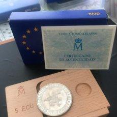 Monedas Juan Carlos I: ESPAÑA 5 ECU 1990 (PLATA) S/C FUNDA,ESTUCHE Y CERTIFICADO GARANTIA.. Lote 131933186