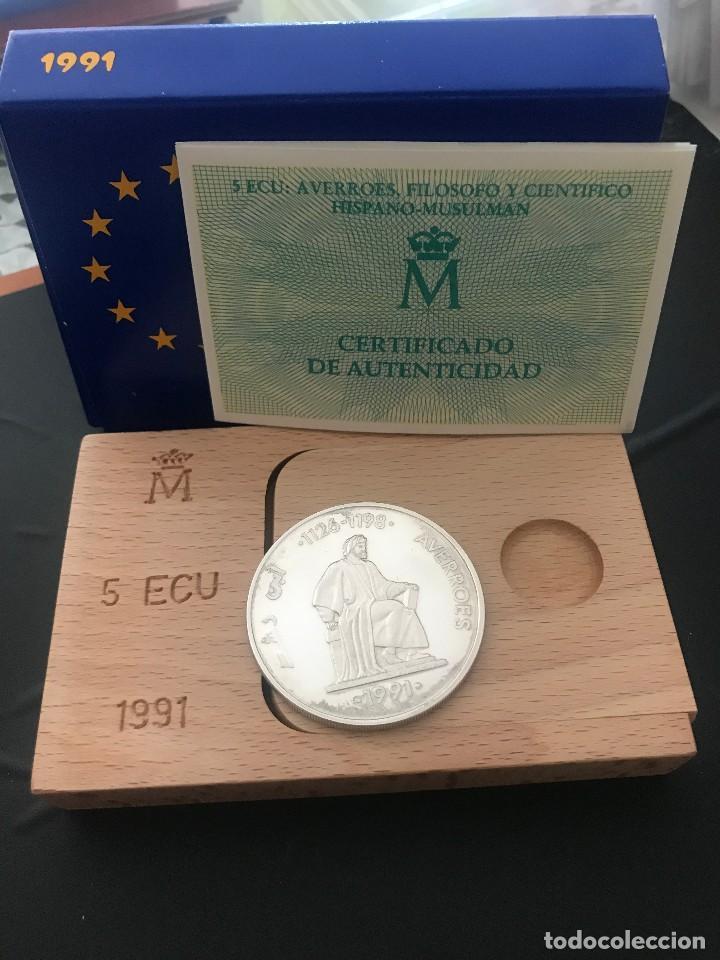ESPAÑA 5 ECU 1991 (PLATA) S/C FUNDA,ESTUCHE Y CERTIFICADO GARANTIA. (Numismática - España Modernas y Contemporáneas - Juan Carlos I)