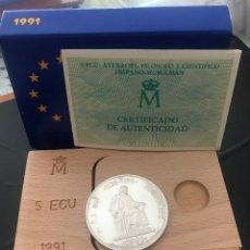 Monedas Juan Carlos I: ESPAÑA 5 ECU 1991 (PLATA) S/C FUNDA,ESTUCHE Y CERTIFICADO GARANTIA.. Lote 131933766