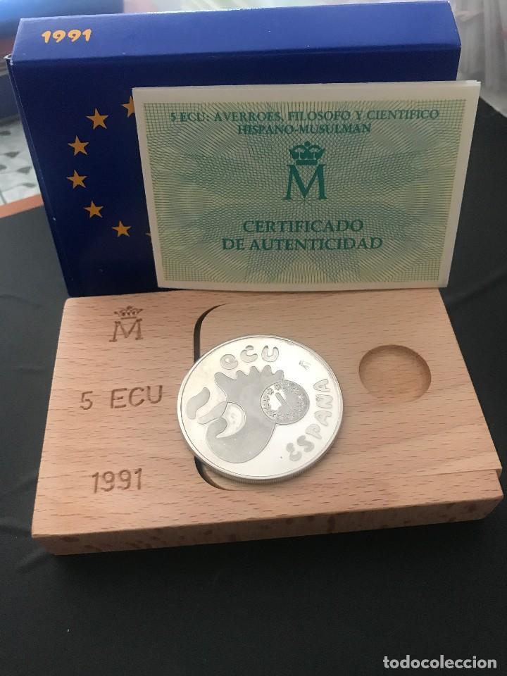 Monedas Juan Carlos I: ESPAÑA 5 ECU 1991 (PLATA) S/C FUNDA,ESTUCHE Y CERTIFICADO GARANTIA. - Foto 2 - 131933766