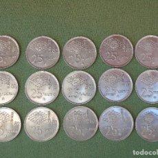 Monedas Juan Carlos I: 15 MONEDAS DE 25 PESETAS ESPAÑA MUNDIAL 82. (*80) (*81) (*82) . 5 MONEDAS DE CADA FECHA. NIQUEL. Lote 132278642