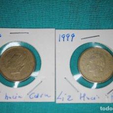 Monedas Juan Carlos I: ESPAÑA DOS MONEDAS 100 PESETAS JUAN CARLOS I AÑO 1999 FLOR DE LIS ANVERSO Y REVERSO. Lote 136225342