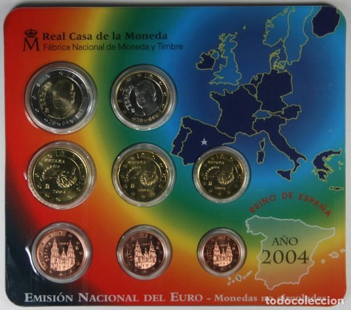 EURO SET CON LOS EUROS DE ESPAÑA 2004 FNMT NUMERADOS EMISION OFICIAL DEL EURO (Numismática - España Modernas y Contemporáneas - Juan Carlos I)