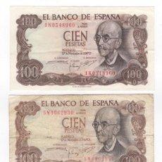 Monedas Juan Carlos I: 970 TRES BILLETES 100 PESETAS DISTINTAS CALIDADES SC - EBC - USADO. Lote 145343970