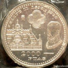 Monedas Juan Carlos I: 2000 PESETAS 1998 IV CENTENARIO DE FELIPE II PLATA ESPAÑA EN BOLSA ORIGINAL. Lote 132610910
