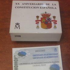 Monedas Juan Carlos I: XX ANIVERSARIO CONSTRUCIÓN 1998 ESPAÑA 1.000 PTAS PROFF PLATA. Lote 146206340