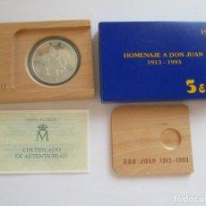 Monedas Juan Carlos I: FNMT * 5 ECU 1993 * HOMENAJE A DON JUAN * PLATA. Lote 147594278