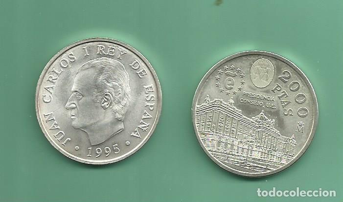 PLATA-ESPAÑA 2000 PESETAS 1995. PRESIDENCIA U.E (Numismática - España Modernas y Contemporáneas - Juan Carlos I)