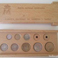 Monedas Juan Carlos I: NUEVO SISTEMA MONETARIO FNMT * ESTUCHE DE MADERA * SERIE COMPLETA 1990 ** TIN. Lote 149706070