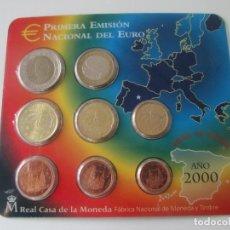 Monedas Juan Carlos I: ESPAÑA * CARTERA PRIMERA EMISION NACIONAL DEL EURO * 2000 ** TIN. Lote 149718162