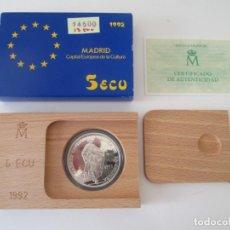 Monedas Juan Carlos I: JUAN CARLOS I * 5 ECU 1992- MADRID CAPITAL EUROPEA DE LA CULTURA * PLATA** TIN. Lote 149727650