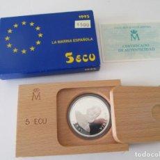 Monedas Juan Carlos I: JUAN CARLOS I * 5 ECU 1995 - LA MARINA ESPAÑOLA - DON QUIJOTE * PLATA** TIN . Lote 149729402