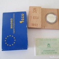 Monedas Juan Carlos I: JUAN CARLOS I * 1 ECU 1992 - MADRID CAPITAL EUROPEA DE LA CULTURA * PLATA** TIN. Lote 149733130