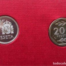 Monedas Juan Carlos I: 1 PESETA Y 200 PESETAS E-87. Lote 150224202