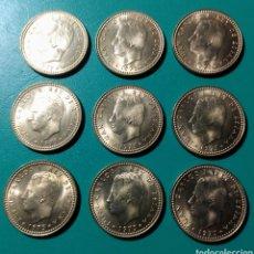 Monedas Juan Carlos I: 1 PESETA 1975 *78. ERROR Ñ. 9 MONEDAS. SC.. Lote 150493765