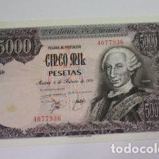 Monedas Juan Carlos I: 523, BILLETE DE 5000 PESETAS DEL 6 FEBRERO 1976 JUAN CARLOS SIN SERIE Nº. 4077936 EN PLANCHA. Lote 154333818