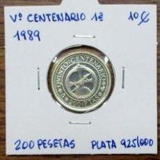 Monedas Juan Carlos I: Vº CENTENARIO MONEDAS DE LA 1ª SERIE DE 1989. 100, 200, 500 PESETAS EN PLATA FDC BRILLO. LOTE 1558. Lote 155643338