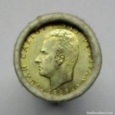 Monedas Juan Carlos I: CARTUCHO OFICIAL DE FABRICA NACIONAL DE MONEDA Y TIMBRE DE 25 MONEDAS DE 100 PTAS DE 1989 LOTE 1565. Lote 155976426