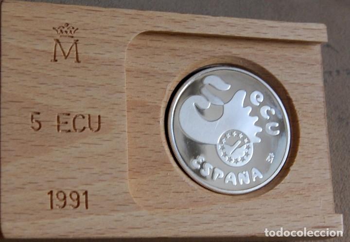 Monedas Juan Carlos I: España. 1991. 5 ecu. Averroes. Plata - Foto 2 - 157002882
