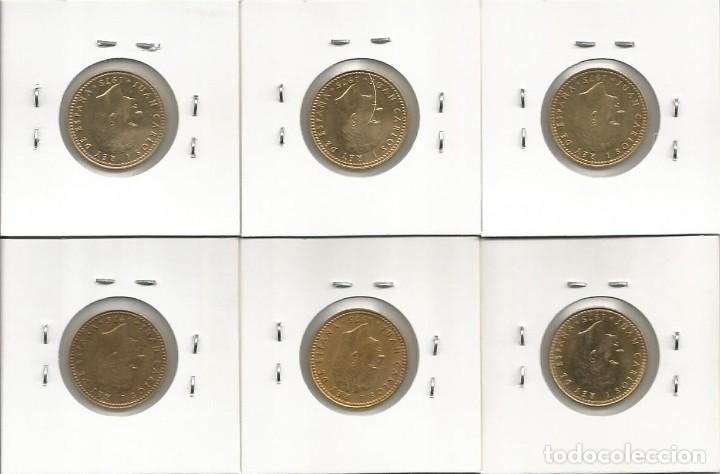 Monedas Juan Carlos I: ESPAÑA 1975 (VER ESTRELLAS) - 1 PESETA - KM 806 - LOTE 6 MONEDAS CIRCULADAS (CON CHILENA) - Foto 2 - 161236150