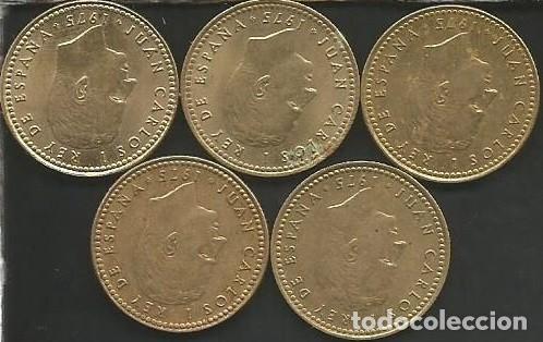 Monedas Juan Carlos I: ESPAÑA 1975 (VER ESTRELLAS) - 1 PESETA - KM 806 - LOTE 5 MONEDAS CIRCULADAS - Foto 2 - 161236386