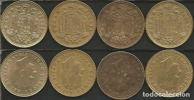 ESPAÑA 1975 (VER ESTRELLAS) - 1 PESETA - KM 806 - LOTE 4 MONEDAS CIRCULADAS (Numismática - España Modernas y Contemporáneas - Juan Carlos I)