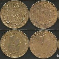 Monedas Juan Carlos I: ESPAÑA 1975 (VER ESTRELLAS) - 1 PESETA - KM 806 - LOTE 4 MONEDAS CIRCULADAS. Lote 161236718