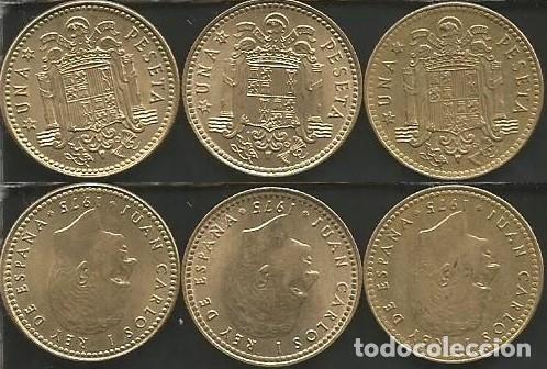 ESPAÑA 1975 (VER ESTRELLAS) - 1 PESETA - KM 806 - LOTE 3 MONEDAS CIRCULADAS (Numismática - España Modernas y Contemporáneas - Juan Carlos I)