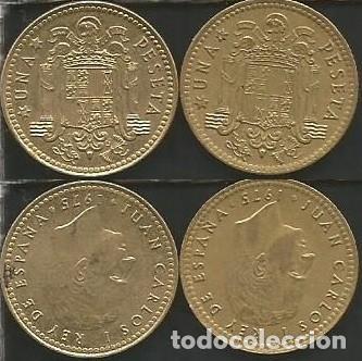 ESPAÑA 1975 *76 Y *80 - 1 PESETA - KM 806 - LOTE 2 MONEDAS CIRCULADAS (Numismática - España Modernas y Contemporáneas - Juan Carlos I)