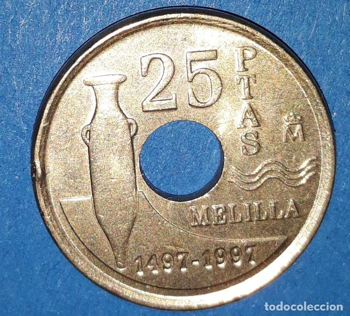 Monedas Juan Carlos I: 25 PESETAS - MELILLA - 1997 - Foto 2 - 161594922