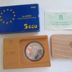 Monedas Juan Carlos I: JUAN CARLOS I * 5 ECU 1992 * MADRID CAPITAL EUROPEA DE LA CULTURA * PLATA. Lote 163421306