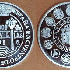 Monedas Juan Carlos I: ESPAÑA 2000 PESETAS PLATA 1991 PROOF COLUMNARIO - ENCUENTRO DOS MUNDOS. Lote 171222283