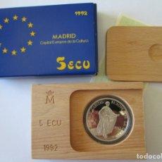 Monedas Juan Carlos I: JUAN CARLOS I * 5 ECU 1992 * MADRID CAPITAL EUROPEA DE LA CULTURA * PLATA. Lote 172354363
