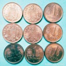 Monedas Juan Carlos I: ESPAÑA - LOTE DE 9 MONEDAS DE LA 1 PESETA 1980 - 4 X 1975*80 + 8 X 1980*80 DE MBC - SIN CIRCULAR. Lote 120724355