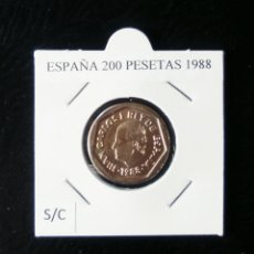Monedas Juan Carlos I: ESPAÑA 200 PESETAS JUAN CARLOS SIN CIRCULAR AÑO 1988 MUY ESCASA. Lote 225249980