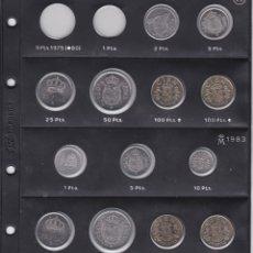 Monedas Juan Carlos I: HOJA CON 13 MONEDAS DE JUAN CARLOS DEL AÑO 1982 Y 1983 EN SC. Lote 178593830
