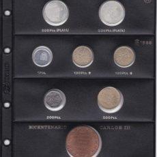 Monedas Juan Carlos I: HOJA CON 8 MONEDAS DE JUAN CARLOS AÑOS 1987-88 EN SC (INCLUYE MONEDAS PRUEBA PLATA Y MEDALLA CARLOS). Lote 178595197