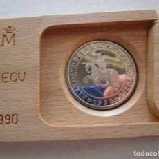 Monedas Juan Carlos I: F.N.M.T . 5 ECU DE PLATA . ALFONSO X . AÑO DE 1990 . ESTUCHES Y CERTIFICADOS . SC. Lote 194543508