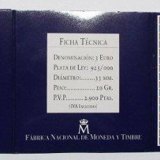 Monedas Juan Carlos I: RUTA QUETZAL, 1998. 3 EUROS. Vº CENTENARIO DESCUBRIMIENTO DE TIERRA FIRME. LOTE 2029. Lote 179231788