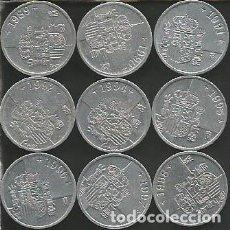 Monedas Juan Carlos I: ESPAÑA (VER AÑOS) - LOTE 9 MONEDAS DE 1 PESETA - KM 832 - CIRCULADAS. Lote 179259393